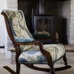 Victorian Rocking Chair Stunning Peacock Designer Fabric