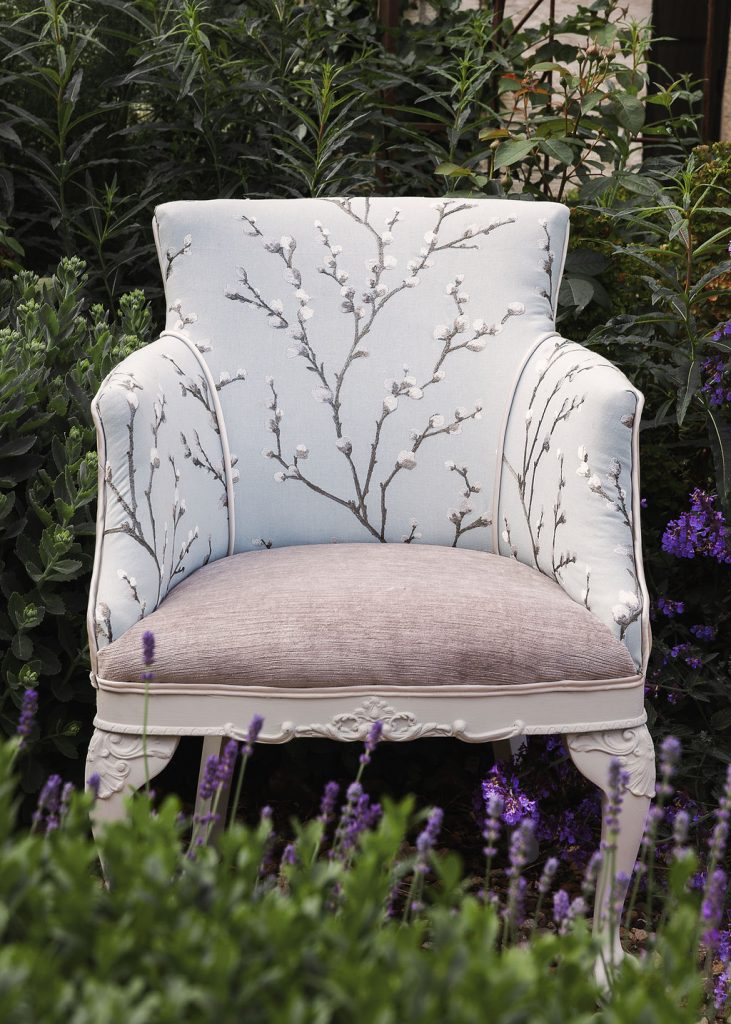 Mix and match fabrics on an upholstered vintage tub chair