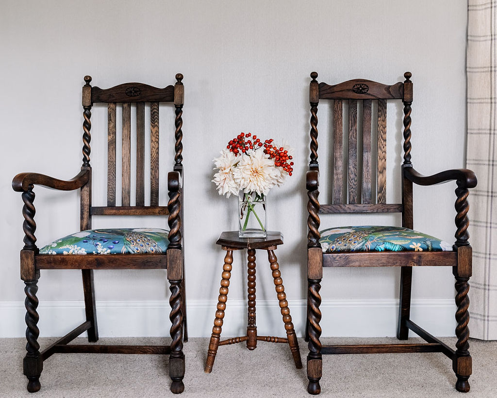 Pair of barley twist carver chairs