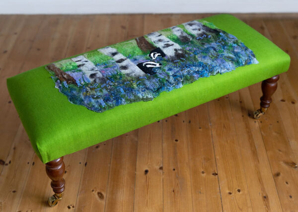 Badgers & bluebells original design footstool
