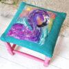 Teal and purple footstool