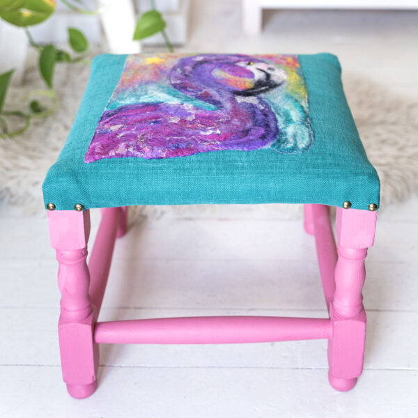 funky flamingo footstool